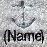 Bademantel für Erwachsene mit einem Anker Logo und Namen Ihrer Wahl in weiß, Größe M, L, XL oder XXL, 100 % Terry-Baumwolle, weiß, Large