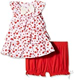 Nauti Nati Girls' Dress (NSS16-289_Red and White color_24 - 36M)