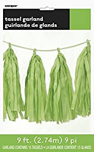 Unique Party Guirnalda con borlas de papel de seda Color verde lima 274 cm 62957