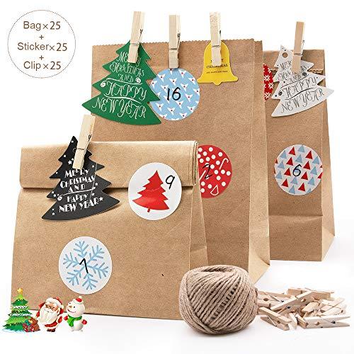 MMTX Geschenktüten Set Kindergeburtstag, 24 Kraftpapiertüten,Weihnachten Adventskalender zum Befüllen und Miniklammern für Süssigkeiten, Kekse,Geschenke Unterstützung von Weihnachts und Hochzeit -