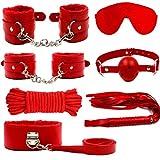 Semoss SM Sexspielzeug Sex Bondage Set 7 Stück BDSM für Heißen Sex,Anfänger Erfahrung Spaß damit haben,Fesseln, Peitsche,Halsband Maske und vieles mehr,Material:Plüsch und Leder Rot
