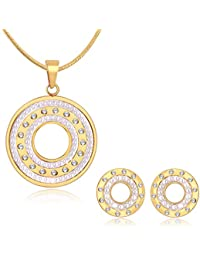 Spargz Gold Plated AD Stone With Peal Party Wear Life Circle Contemporary Pendant Set For Women ALPS_5039
