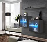 Juub Sideboard Kommode Schrank Anrichte Switch III Graphit Hochglanz Push-Click LED - SB Switch III GG