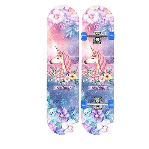 rd Komplett Longboard Double Kick Skateboard Cruiser 8 Lagen Ahorn Deck für Extremsport und Outdoor, 10,72cm ()