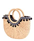 SugarShock Rhaella Pom Pom Bast Damen Handtasche, Farbe:natur
