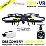 UDI U818A Drohne 2 MP WiFi FPV Kamera 2,4 GHz Quadrocopter Version 2017 mit Höhehaltemodus Altitude Hold, Rückholmodus Headless Mode, VR 3D Brille, Akkustandswarnung, Flugroutenplanung und One-Key-To-Start Funktion