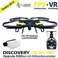 UDI U818A Drohne 2 MP WiFi FPV Kamera 2,4 GHz Quadrocopter Version 2017 mit Höhehaltemodus Altitude Hold, Rückholmodus Headless Mode, VR 3D Brille, Akkustandswarnung, Flugroutenplanung und One-Key-To-Start Funktion