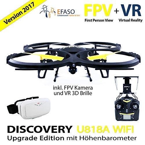 Preisvergleich Produktbild UDI U818A Drohne 2 MP WiFi FPV Kamera 2, 4 GHz Quadrocopter Version 2017 mit Höhehaltemodus Altitude Hold,  Rückholmodus Headless Mode,  VR 3D Brille,  Akkustandswarnung,  Flugroutenplanung und One-Key-To-Start Funktion