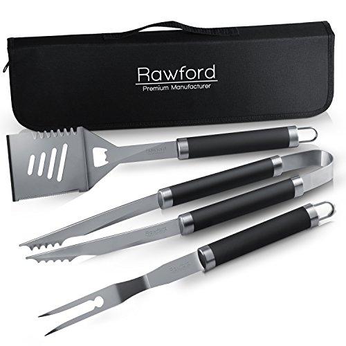Edles Grillbesteck Set von Rawford mit handlicher Aufbewahrungstasche - Hochwertige Grillzange + Wender + Fleischgabel …
