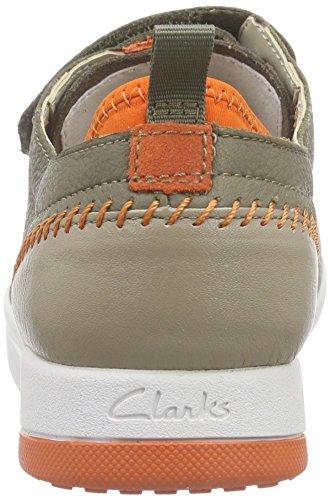 Clarks Kids Tri Scotty Jnr, Baskets Basses garçon Vert (Khaki Leather)
