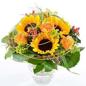 blumenversand blumenstrau sonnenblumengru mit 3 sonnenblumen auf wunsch mit gratis. Black Bedroom Furniture Sets. Home Design Ideas