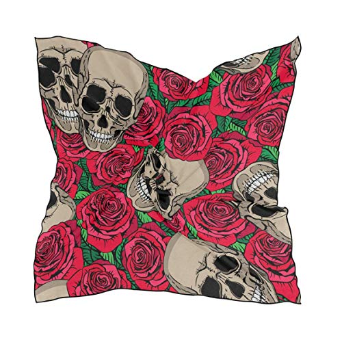 Hipiyoled Skulls And Red Roses Square Scarf Head Wrap Hair Scarves Tuff-dome