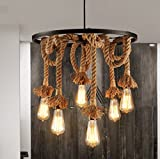 American Village Kronleuchter Retro Kreative Wohnzimmer Lampen Pastoral Hanf Seil Industrie-Restaurant Kronleuchter Lampen