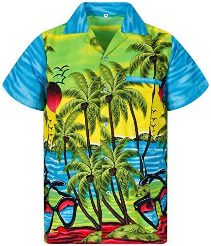 Funky Hawaiihemd, Kurzarm, Sunglasses, Türkis, XL
