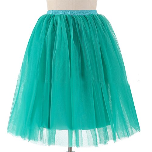 Kostüm Popstar Barbie (Honeystore Damen's 5 Layer Knielanger Rock Elastic Bund Tutu Prinzessin Tütü Tutu Petticoat Ballettrock One Size)