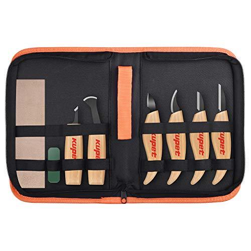 kupet Holzschnitzwerkzeuge Set, 6 Stück Geometrische Holz Schnitzwerkzeuge Set Messer Kit für Kinder Erwachsene & Anfänger Profis Arbeiten DIY Kunsthandwerk Holzschnitzerei