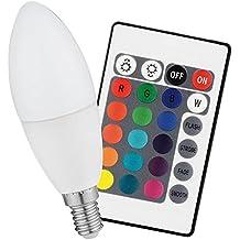 Luminea LED Farbwechsel E14: COB-LED-Kerze mit RGB-Farben und Fernbedienung, 3 Watt (LED E14 RGB)