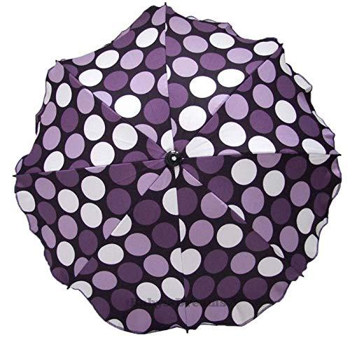 Universal Sonnenschirm Regenschirm für Kinderwagen und Sport Buggy, Babywagen Schirm mit Universal Halterung, UV-Schutz50+ Sonnensegel Sonnenschutz (Lila Erbsen)