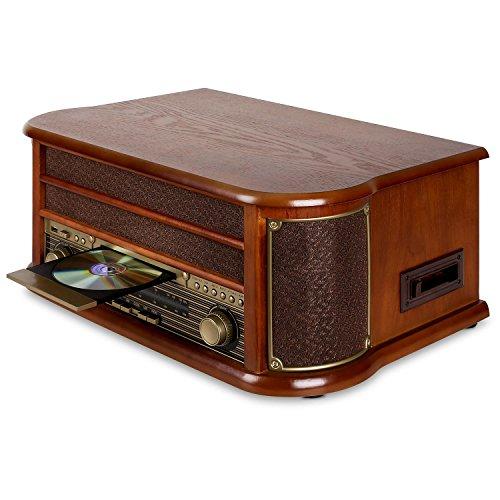 auna Belle Epoque 1908 • Minicadena estéreo • Tocadiscos con Bluetooth • Reproductor de CD • MP3 • USB • Casetes • Radio FM/Am • Altavoces • Grabación • Digitalización • Diseño Retro • Marrón