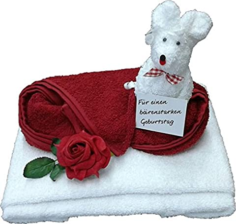 Gift Set 2 x Terry Bear by Hand Shaped Towel (100 x 50 cm) + 1 x Flannel White Bordeaux/White