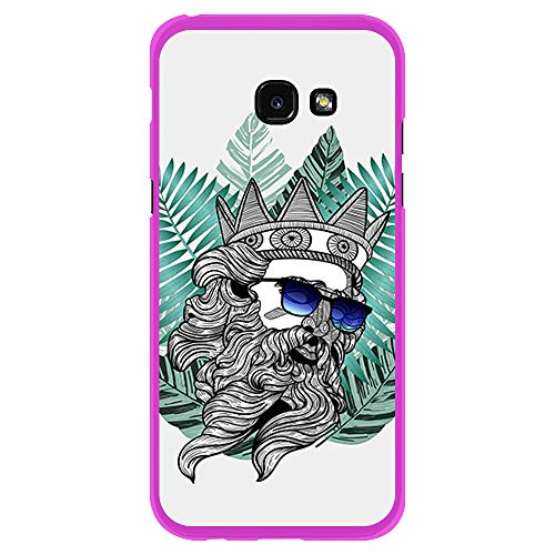 BJJ SHOP Rosa Hülle für [ Samsung Galaxy A5 2017 ], Klar Flexible Silikonhülle, Design: Poseidon mit Brille und Hipster Bart