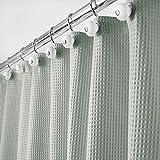 mDesign rideau de douche de luxe en 65% polyester et 35% coton - rideau de douche tissu doux avec motif gaufre - rideau baignoire...