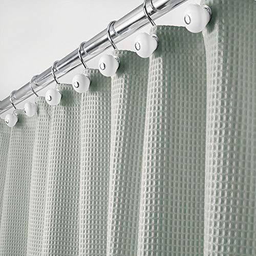 mDesign Rideau de Douche de en 65% Polyester et 35% Coton – Rideau de Douche Tissu Doux avec Motif Gaufre – Rideau Baignoire Facile à Nettoyer – V
