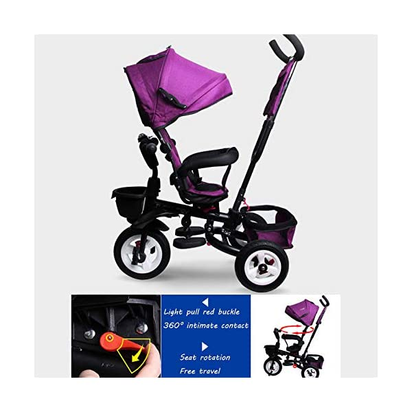 BGHKFF 4 In 1 Childrens Folding Tricycle 1 To 6 Years Rear Wheel With Brake Childrens Tricycles Detachable And Adjustable Push Handle 2-Point Safety Belt Child Trike Maximum Weight 25 Kg,Winered BGHKFF ★Material: High carbon steel frame, suitable for children aged 1-6, maximum weight 25 kg ★ 4 in 1 multi-function: can be converted into a stroller and a tricycle. Remove the hand putter and awning, and the guardrail as a tricycle. ★Safety design: Golden triangle structure, safe and stable; front wheel clutch, will not hit the baby's foot; 2 point seat belt + guardrail; rear wheel double brake 3
