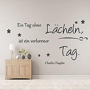 Wandschnörkel ® AA00 Ein Tag ohne Lächeln...Spruch Wanddekoration Wandaufkleber Wohnzimmer Farbe./Größenauswahl Wandaufkleber