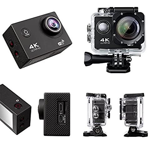 Action Camera 4K Full HD Sport Camera 30M Waterproof Camera Video Recorder 2.0 Inch 170 degree Wide Angle Lens Underwater Camera with 2 Rechargable Batteries(19 Accessories)