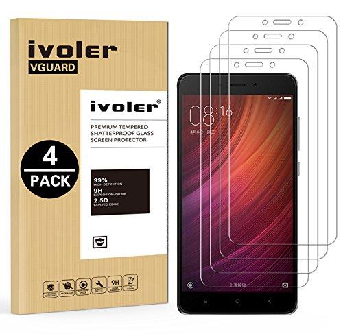 ivoler [4 Stücke] Panzerglas Schutzfolie für Xiaomi Redmi Note 4 / Xiaomi Redmi Note 4X, 9H Härte, Anti- Kratzer, Bläschenfrei, [2.5D R&e Kante]