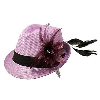 Alpenflüstern Damen Strohhut Trachtenhut rosa mit Feder-Clip ADV03100071 hell-lila
