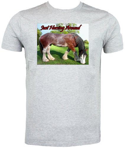 Clydesdale cavallo T Shirt solo Horsing Around Grigio