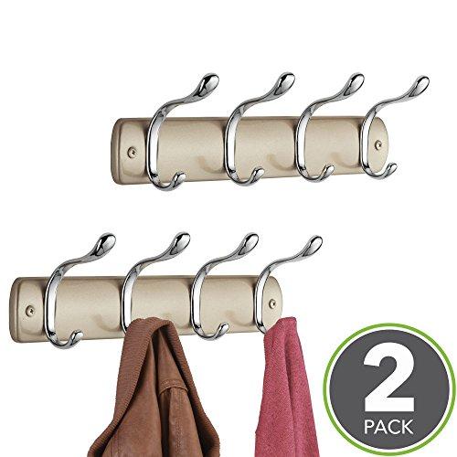 mDesign Hakenleiste aus Stahl – Wandgarderobe mit 8 Garderobenhaken – zur Aufbewahrung von Mänteln, Jacken, Schals, Handtüchern – Perl Champagner - 2er Set