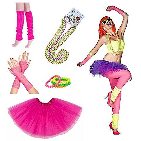 INNOBASE 1980 Fancy Dress Vestimentaires Néon Adult Tutu Jambières Gants Pink Fishnet Colliers et bracelets à perles fluorescentes Ensemble de 5 Années 80s Fête Accessoires for Girls Women Night Out Party (A1)