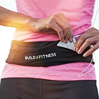 Running Belt, Fitness Belt, Flip Waist Belt with Key Clip, Fits iPhone 6,7,8 plus, X. Unisex. 5 Colours. For Gym Workouts, Exercise, Cycling, Walking, Jogging, Yoga, Sport, Travel & Outdoor Activities