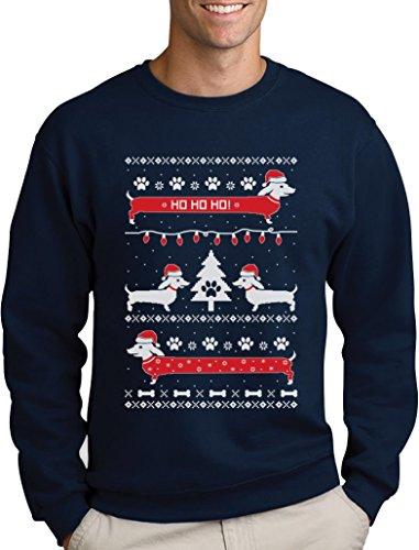 Herren Weihnachtspullover Weihnachtsgeschenk Hundeliebhaber Dackel Sweatshirt Medium Marineblau