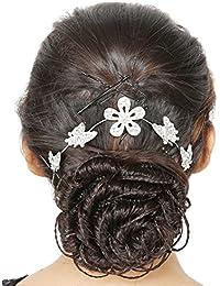 Sanjog Enchanted Silver Tiara Hair Band Fashionable Stone Hair Clip With Pins For Women