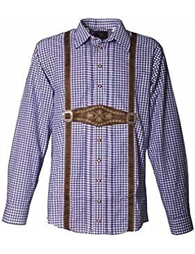 Trachtenhemd Vinzent Langarm blau Karo OS Trachten