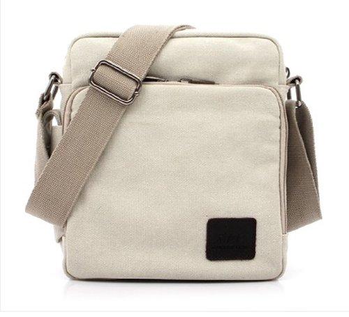 Tonwhar ® Canvas-Schultertasche, Messenger Bag, Aktentasche mit vielen Taschen Weiß - Weiß