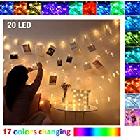 Photo Clip String Lights Colour Changing Fairy Lights with Clips for Photos Hanging Photo Pegs Holder Picture Light with Peg Hanger for Wall Display Banner Decor Christmas Decorations (20Led)