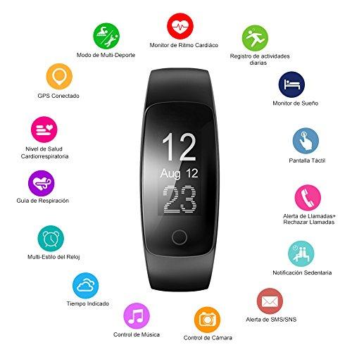Pulsera Actividad Veimiues Pulsera Inteligente con GPS para Correr  Nivel de Salud Cardiorrespiratoria  Guía de Respiración  Monitor de Ritmo Cardíaco y Sueño  Impermeable 67 para iOS y Android