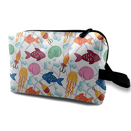 Free Fish Pattern Small Travel Toiletry Bag Super Light Toiletry Organizer for Overnight Trip Bag Crochet Net Bag