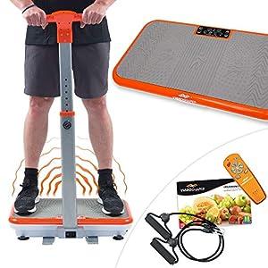 Mediashop VibroShaper mit Griff, Vibrationsplatte, Ganzkörper Trainingsgerät mit 3 Stufen, 99 Geschwindigkeiten, Fernbedienung, Trainingsbänder, Ernährungsplan, Übungsplan | Das Original aus dem TV