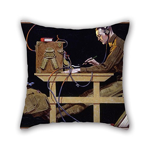 beautifulseason Oil Painting Norman Rockwell - U.S. Army Teaches A Trade (G.I. Telegrapher) Throw Pillow Case,Best for Lounge,Couch,Floor,Bar Seat,Dance Room,Couples 18 X 18 Inches/45 by 45 cm(TW