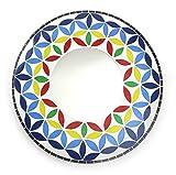 Feng Shui Spiegel Dekospiegel Blume des Lebens Ø 40cm aus Holz weiß Glas Mosaik mehrfarbig, Wanddeko Lebensblume Chakra Blume, Chi Energie lenken
