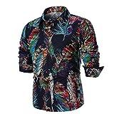 Elecenty Bluse Herren,Männer Blusentop Hemd Drucken Shirt Top Bluse Sweatshirts Winter Poloshirt Sportshirt Longpullover Oberteile Slim Fit Pullover