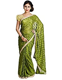Ethnic Bliss Lifestyles Women's Chiffon Saree (Ethnic Bliss Lifestyles Dark Green Phulkari Saree _Dark Green _Free Size)