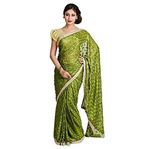 Ethnic Bliss Lifestyles Women's Chiffon Saree (Ethnic Bliss Lifestyles Dark Green Phulkari...