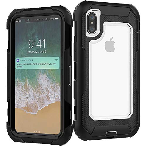 3C-LIFE iPhone XR Heavy Duty Case, Triple Protective Layer Full Body Shockproof Bumper Case with Swivel Belt Clip and Kickstand für (Clear) Cellular Connection Interface